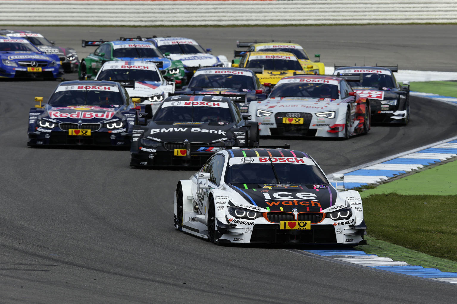 Hockenheim (DE) 04th May 2014. BMW Motorsport, Marco Wittmann (DE) Ice-Watch BMW M4 DTM, Bruno Spengler (CA) BMW Bank M4 DTM and Antonio Felix da Costa (PT) Red Bull BMW M4 DTM. This image is copyright free for editorial use © BMW AG (05/2014).
