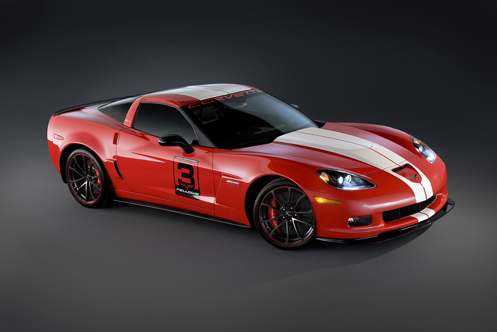 The Corvette Z06 Ron Fellow 'Hall of Fame' Tribute pays homage to the Canadian racer's induction in the National Corvette Museum's Hall of Fame in 2011. The Torch Red show car includes black headlamp housings, the carbon-fiber front splitter and rocker moldings, and new Carvaggio seats from Chevrolet Performance.