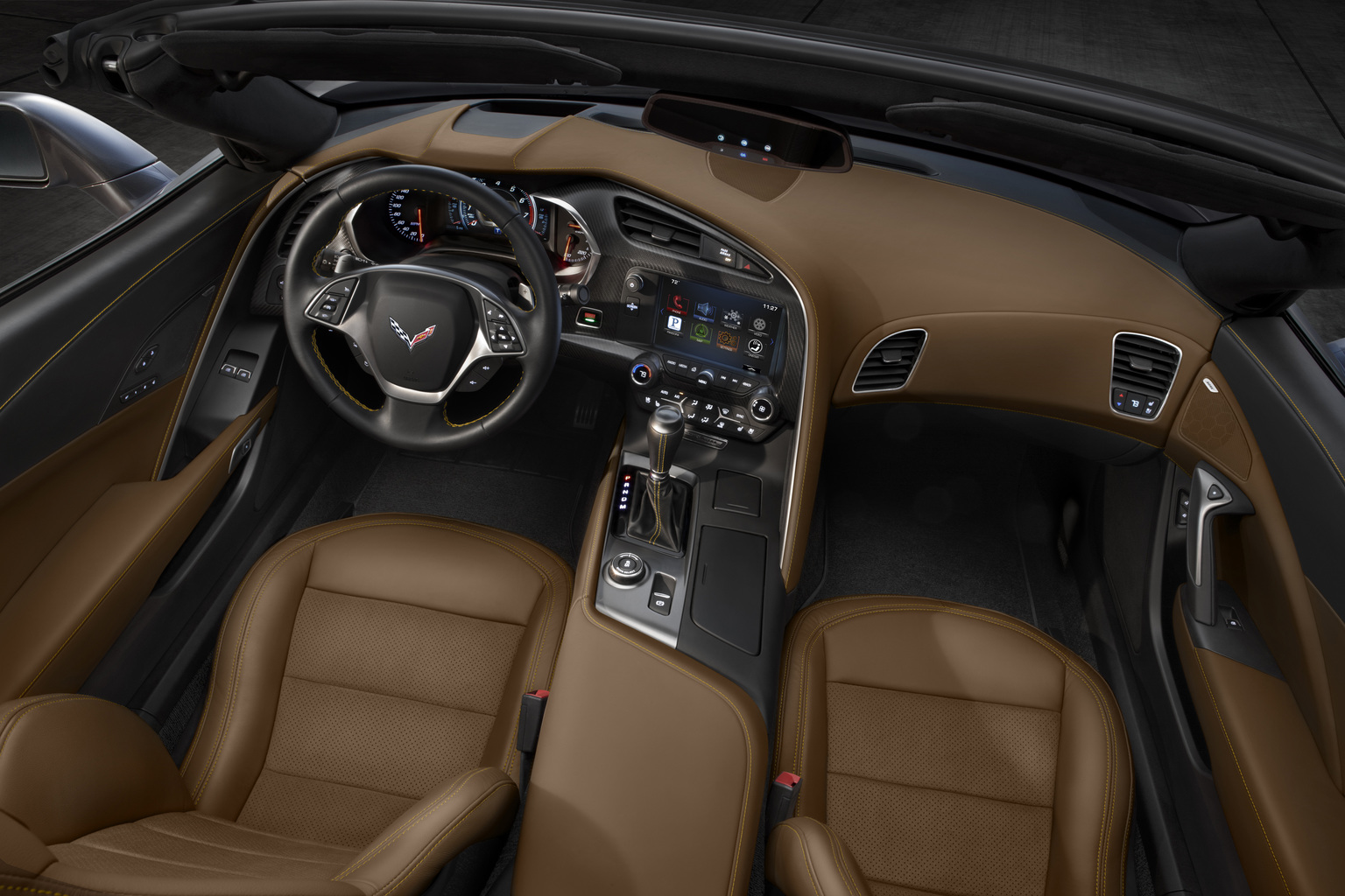 the all new 2014 chevrolet corvette stingray convertible interior blends fine materials and craftsmanship with advanced technologies to deliver a more - 2014 Chevrolet Corvette Stingray Convertible