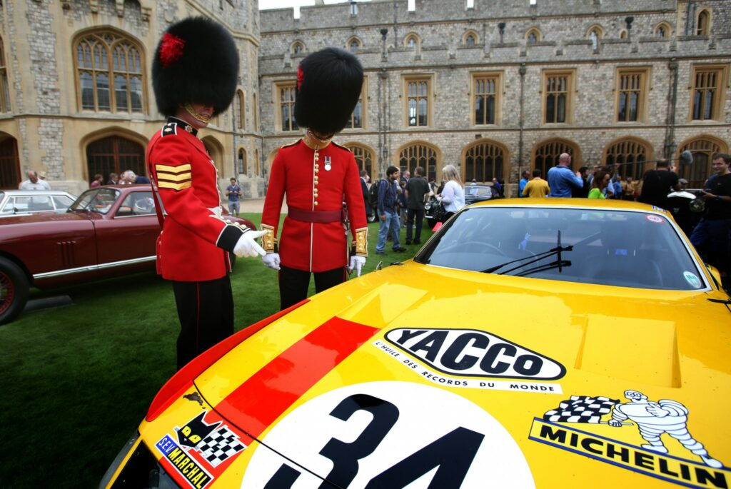 Royal Guards admire racing Ferrari Daytona