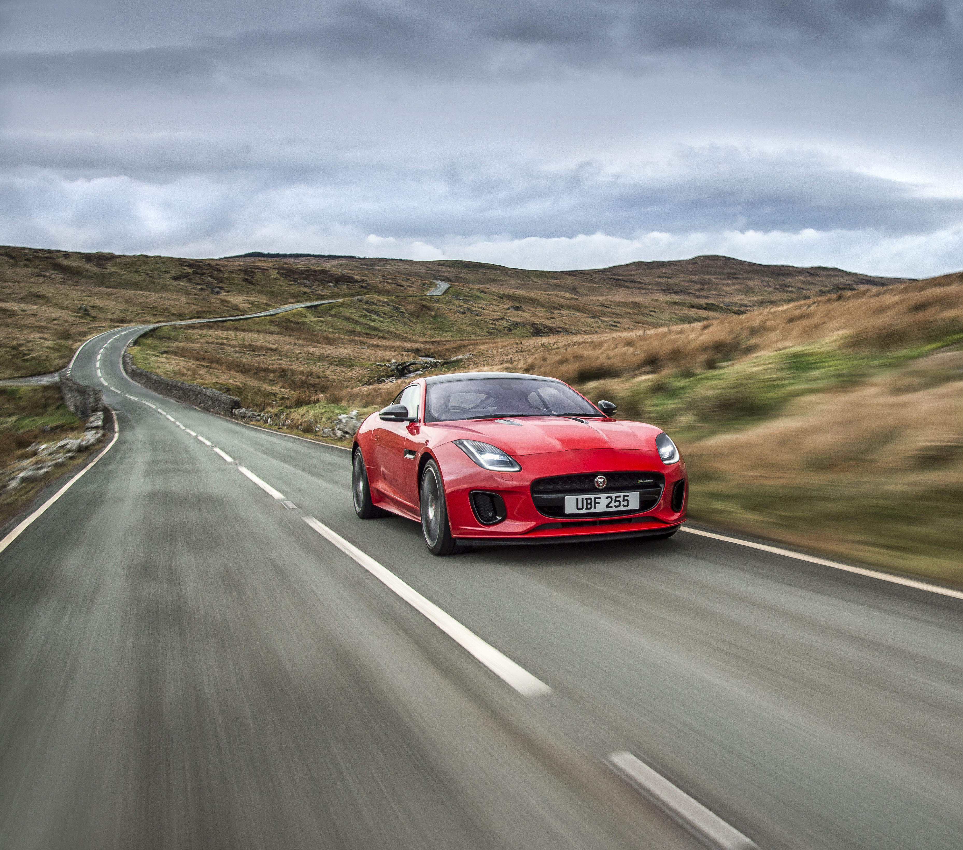 Jaguar four-cylinder F-Type press shot coupe sports car supercar