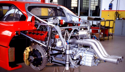 Ferrari F40 rear suspension, exhaust and transmission