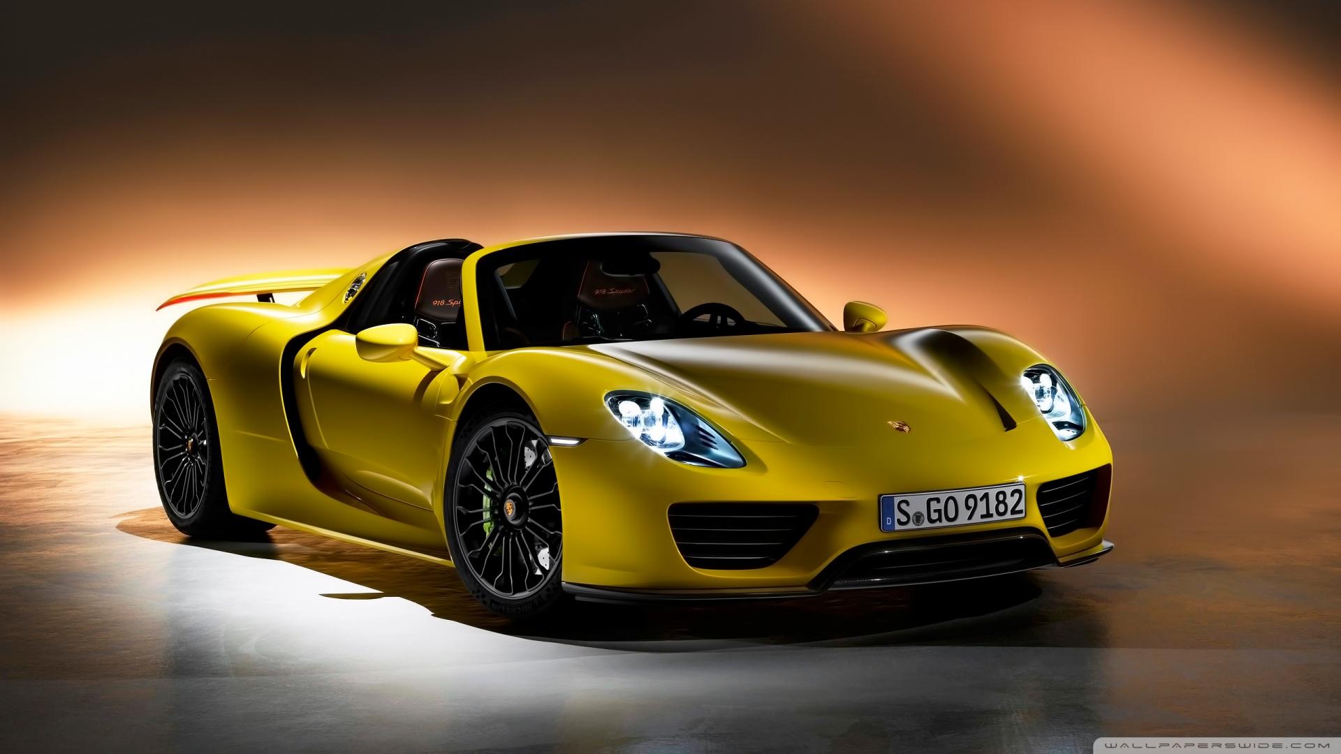 Yellow Porsche 918 Spyder Hd Wallpaper