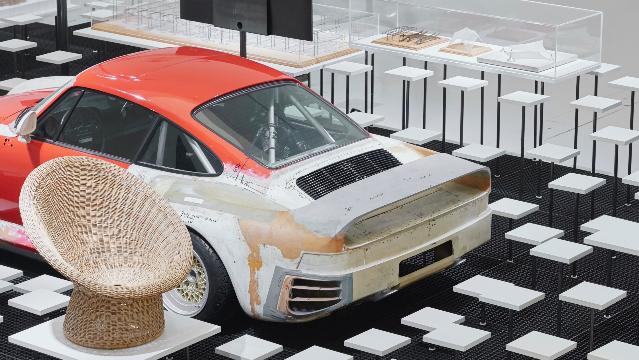 Porsche 959 development mule on display as part of an exhibition at Qatar museum