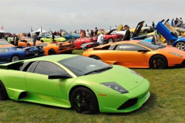 Multiple Lamborghinis in various models and colors