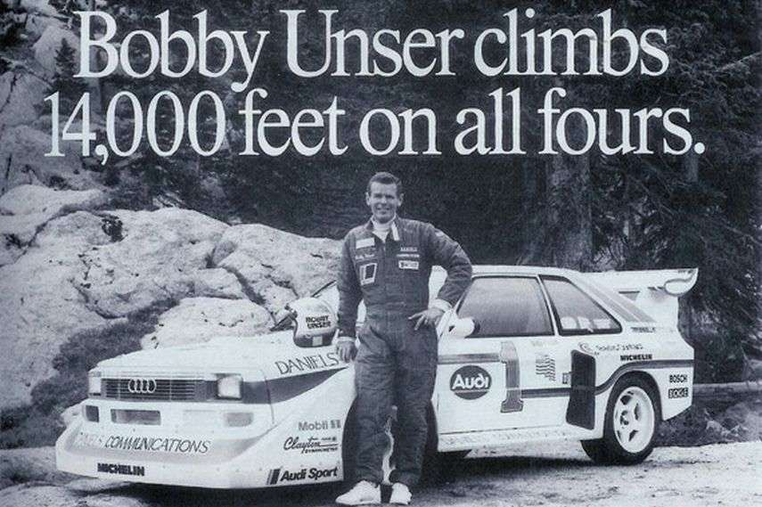 Bobby Unser with the Audi Sport Quattro in 1989