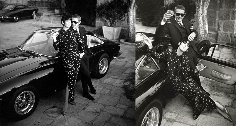 Steve McQueen and Neile Adams with Ferrari 250 GT Lusso