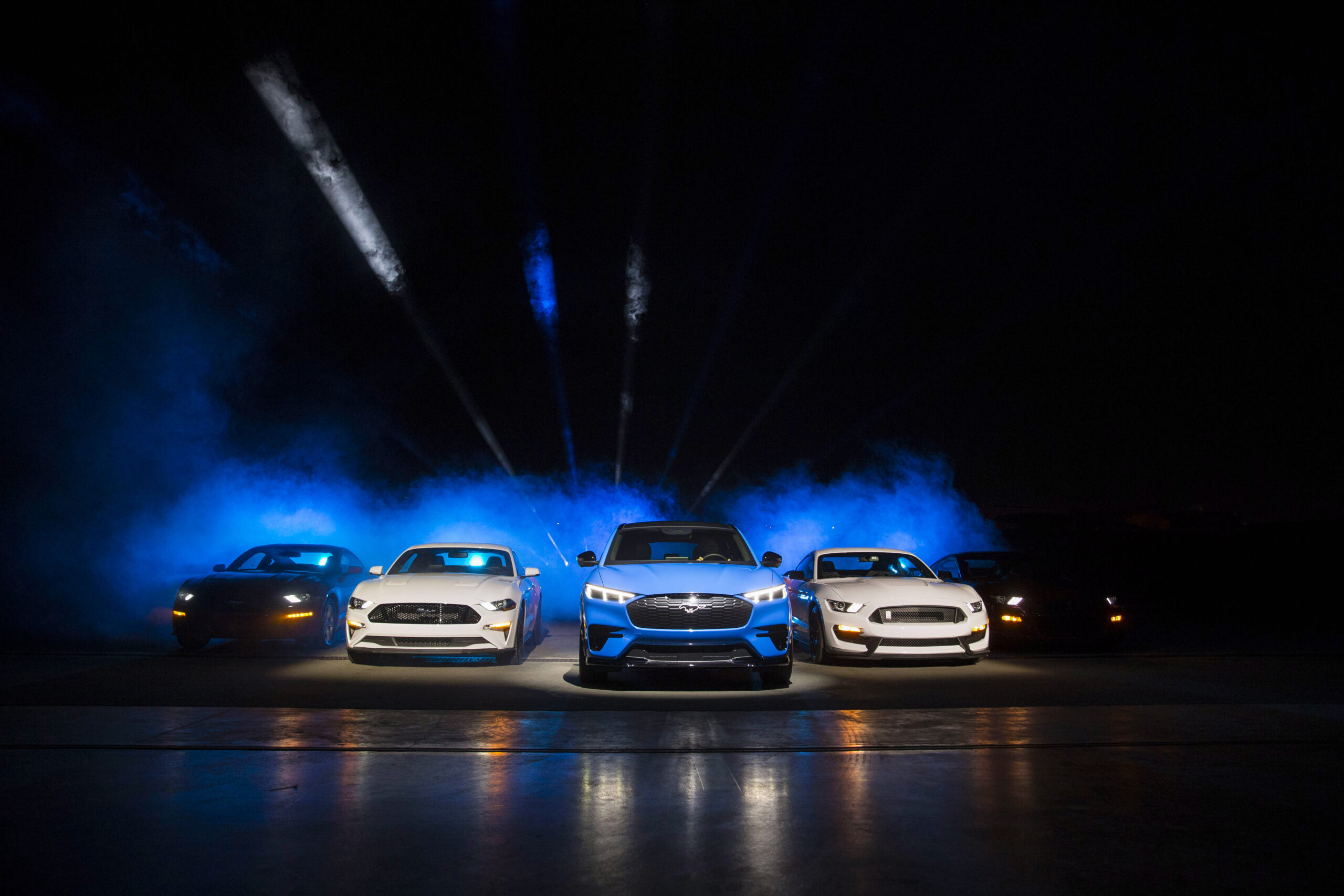 Ford Motor Company introduces the Mustang Mach-E GT SUV at Jet Center Los Angeles in Hawthorne, California on Sunday, Nov. 17, 2019. The GT Performance Edition brings the thrills Mustang is famous for, targeting 0-60 mph in the mid-3-second range and an estimated 342 kW (459 horsepower) and 830 Nm (612 lb.-ft.) of torque.
