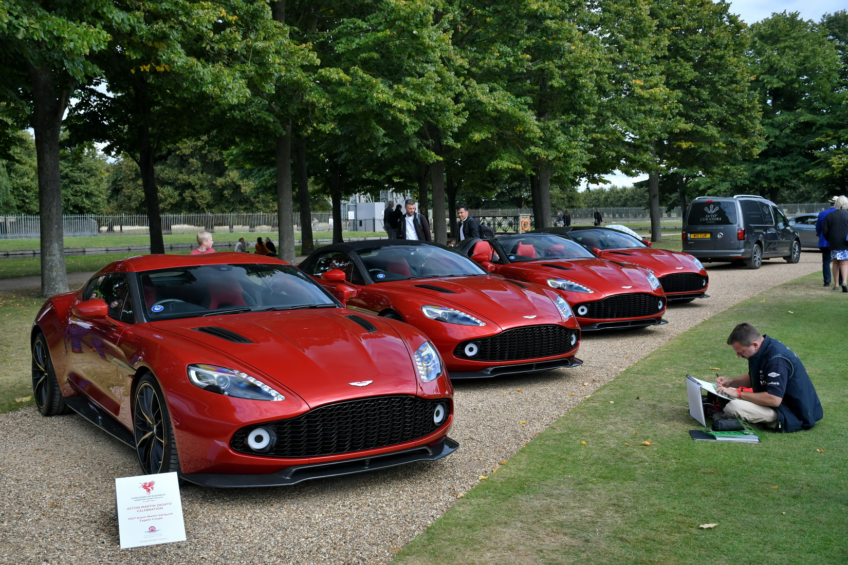 A set of 4 red 2018 Vanquish Zagato, a Shooting Brake, a Speedster a Coupe and a Volante