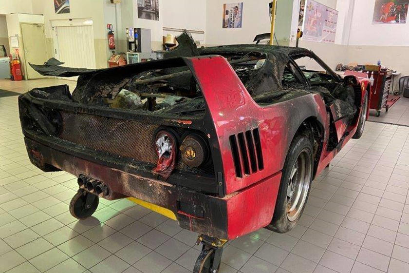 Fire damaged Ferrari F40