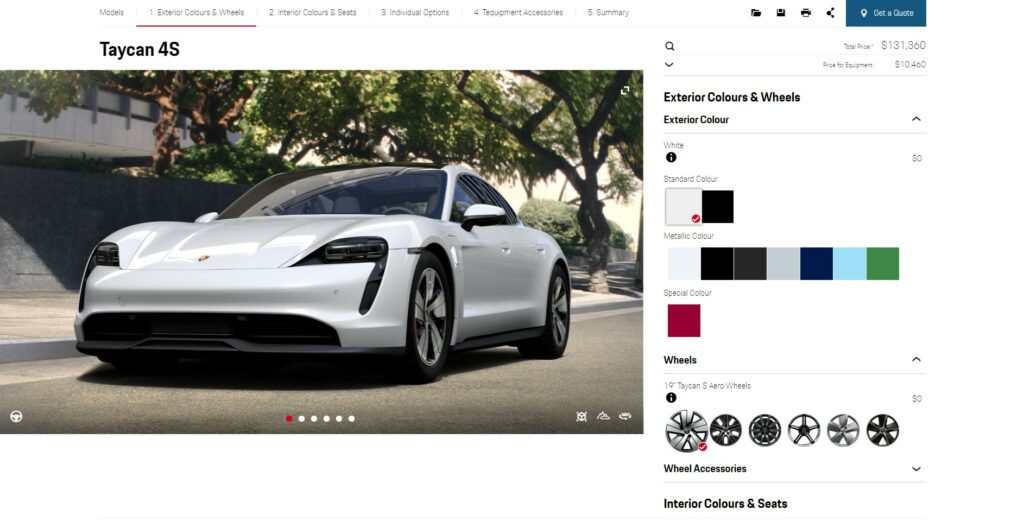 porsche car configurator screen
