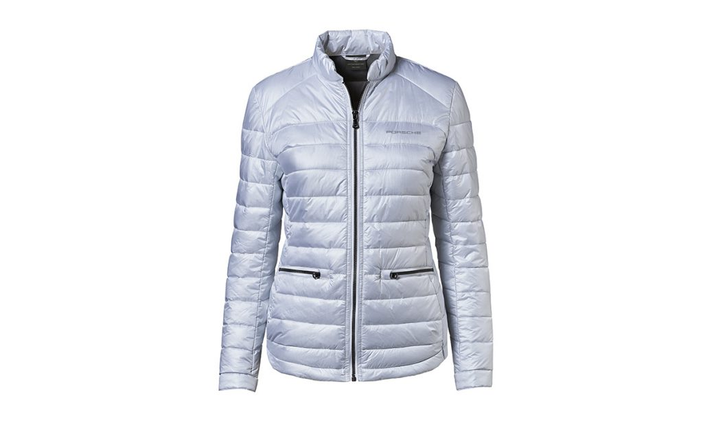 Front view of Porsche Driver's Selection Silver 911 Jacket