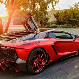 Lamborghini wrapped in red vinyl