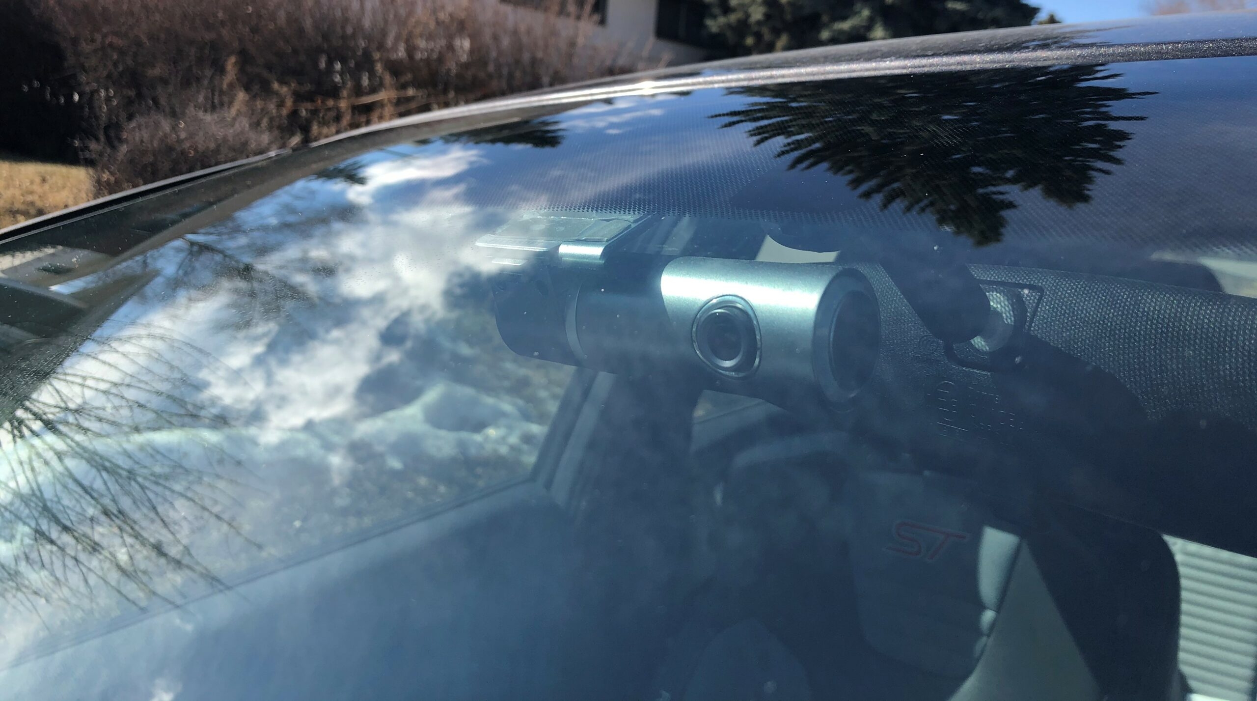 Dashcam mounted on front windshield