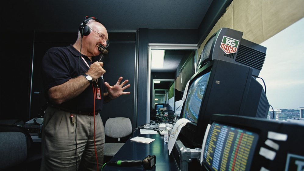 Murray Walker in the commentary booth