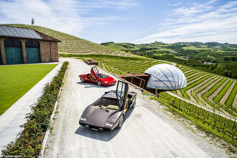 a view of two Lamborghini Countach in the driveway of a very well-off Italian house, complete with bubble-ivied bedroom. Lol.