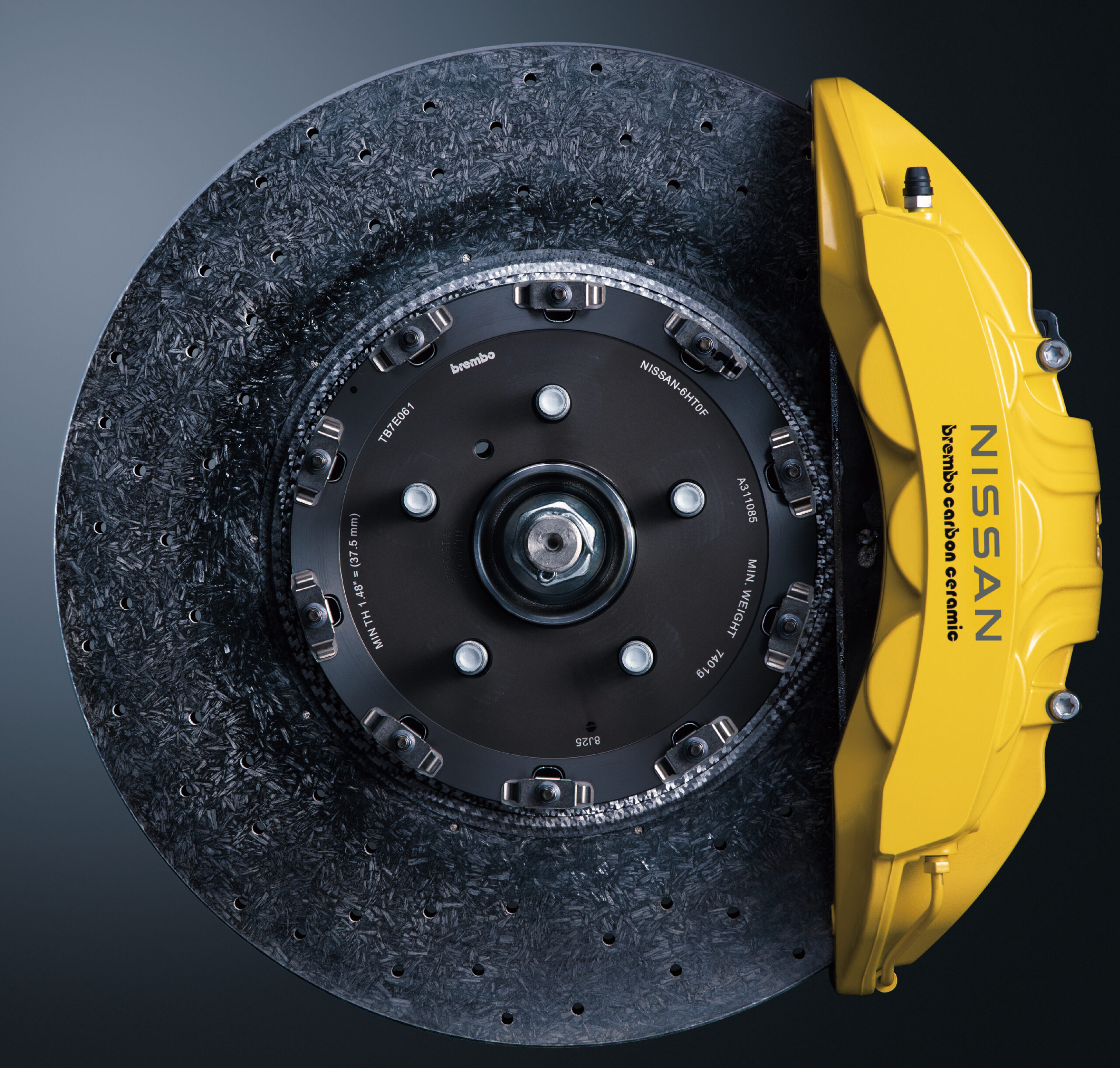 A view of the brake discs connected to the Nissan GT R R 35 T